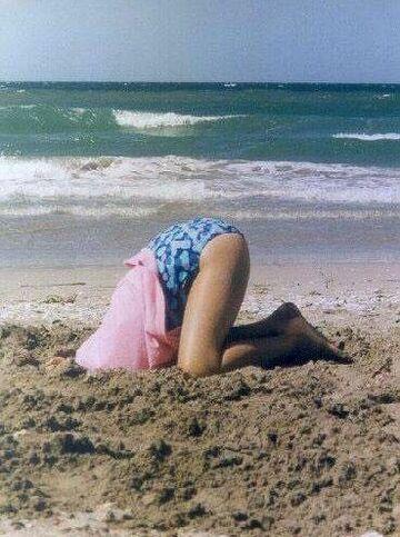 struś na plaży