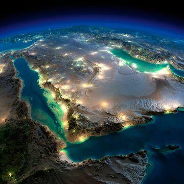 Satelitarne zdjęcie półwyspu Arabskiego (Sinai Peninsula)