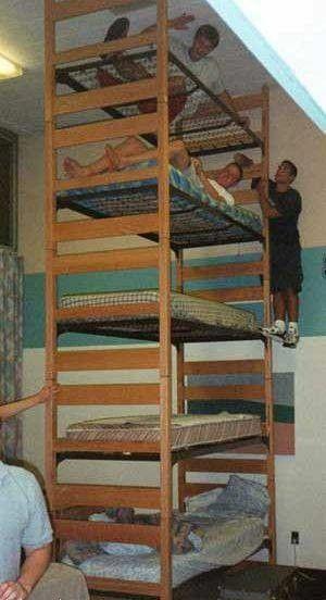 Pięcie piętrowe łóżko