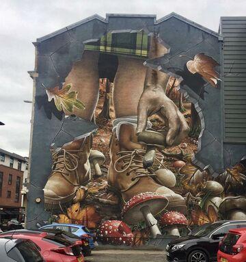 Jesienny mural w Glasgow