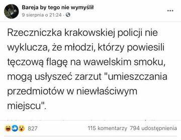 Zarzuty za powieszenie tęczowej flagi na Wawelskim smoku