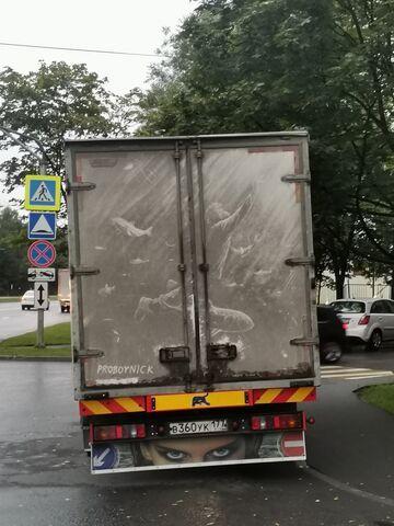 Sztuka na brudnym samochodzie