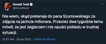 Donald Tusk o wakacjach Szumowskiego