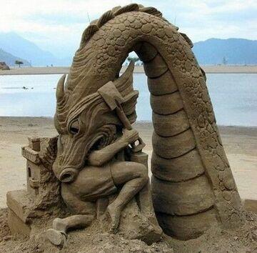 Zrobił zamek z piasku, a skąd się wziął smok?