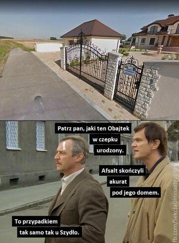 Asfalt przed domem Obajtka