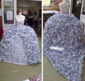 Suknia ślubna z gazet