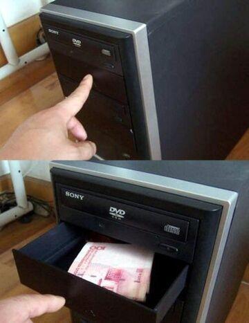 Schowek na pieniądze w komputerze