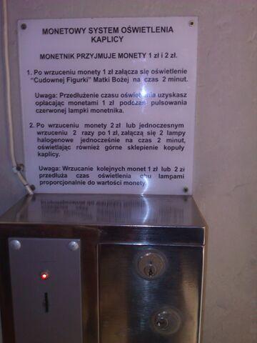 Monetowy system oświetlenia kaplicy