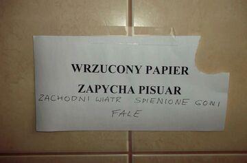 WRZUCONY PAPIER ZAPYCHA PISUAR