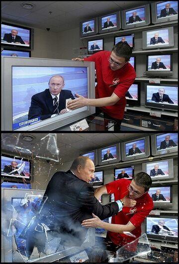Putin wyskoczył z telewizora