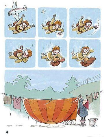 Żona wzięła spadochron do prania