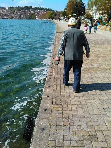 Dziadek spaceruje ze swoim psem