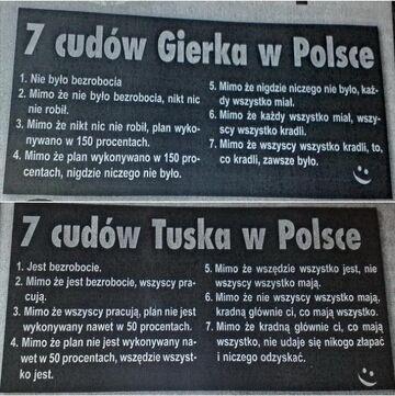 7 cudów Gierka w Polsce vs 7 cudów Tuska w Polsce