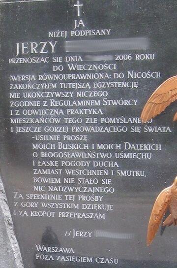 Oryginalny napis na nagrobku