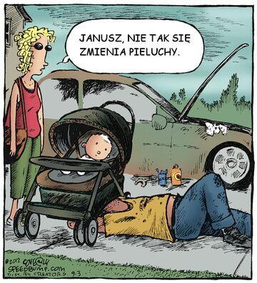 Janusz, nie tak się zmienia pieluchy.