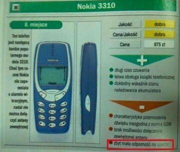 """""""Zbyt mała odporność na upadki"""" - Nokia 3310"""