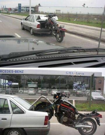 Ciągnie motor za autem