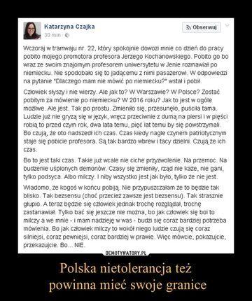 Polska nietolerancja też powinna mieć swoje granice