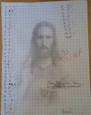 Dobry Jezu, a nasz Pani, daj mi trójkę na sprawdzianie.