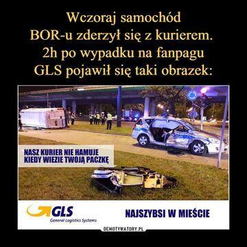 Samochód BOR-u zderzył się z kurier GLS