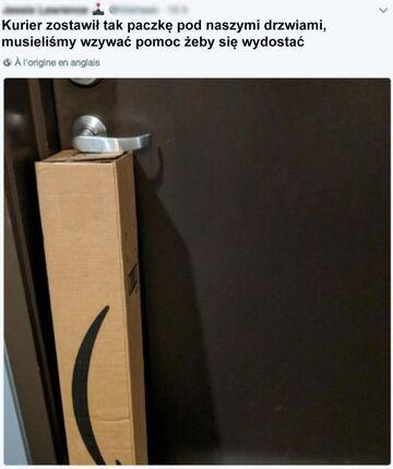 Kurier zostawił taką paczkę pod drzwiami