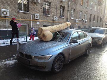 Drewniany penis na samochodzie. WTF!?
