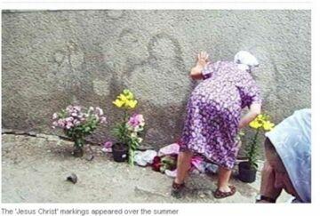 """Ukraina: """"Jezus"""" na ścianie fabryki"""