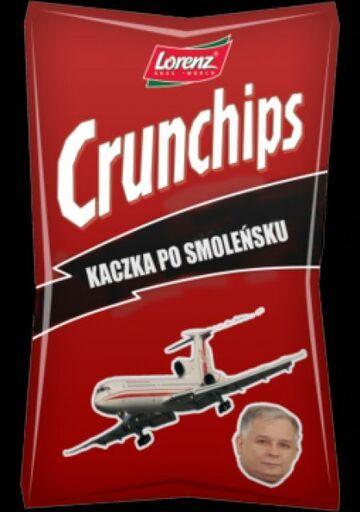 """""""Kaczka po smoleńsku"""" na opakowaniu chipsów"""