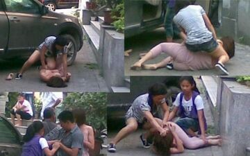 Tak żona okłada kochankę męża na ulicy!