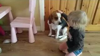 Reakcja dziecka na psa, który rozbił ulubioną miskę z obiadem