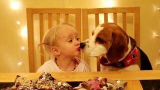Dziewczynka z psem robią pierniki