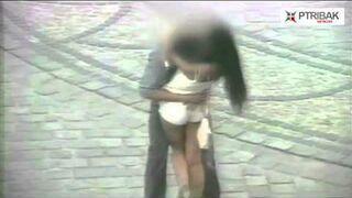 Nie mógł oderwać rąk od jej tyłka! Pożegnanie z dziewczyną na ulicy we Wrocław