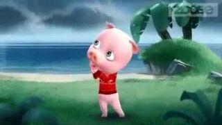 Świnka chudzinka, je i żałuje