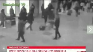 Moment wybuchu na lotnisku w Brukseli/Explosion at Airport in Brussels 22.02.2016