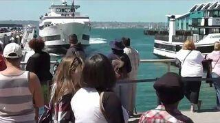 Rozpędzona łódź wbija się w nabrzeże. San Diego Dock