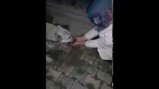 Psiak dziękuje dziewczynie za wodę