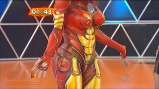 Bodypainting Iron Man kobieta w Brazylijskiej telewizji