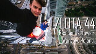 Wejście Rosjan bez zabezpieczeń na szczyt wieżowca. Złota 44 w Warszawie