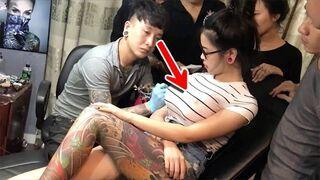 Podczas tatuowania wybuchła jej pierś!