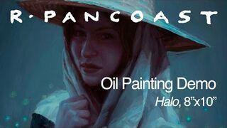 Artysta Ryan Pancoast pokazuje malowanie obrazu olejnego na desce