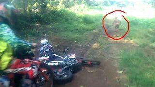 Jakaś naga postać wpada pod koła motocyklisty i ucieka w las