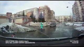 W kałużach na drogach w Rosji można utonąć