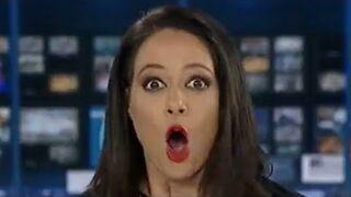 Zaskoczona prezenterka w programie na żywo w ABC24