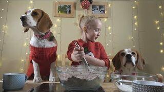 Mała dziewczynka co roku piecze świąteczne pierniki dla swoich piesków