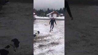 Donald Tusk harata w gałę z psem