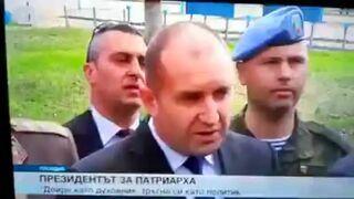 Prezydent Bułgarii robi pokaz na drążku