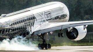 Niemalże pionowy start Aribusa A350 (ILA 2018 Airshow)