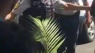 Wściekła blondynka kontra policjanci