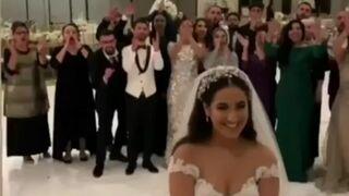 Łapanie bukietu na weselu. Przechytrzył wszystkich!