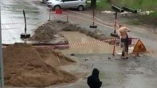 Wyszedł na ulicę popływać (Rosja)